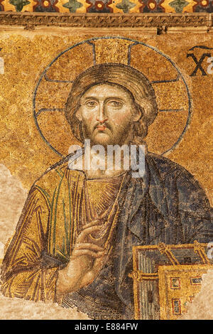 Jesus in the Deesis mosaic of Hagia Sophia, Istanbul, Turkey. - Stock Photo