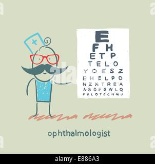 ophthalmologist near the table with the letters - Stock Photo