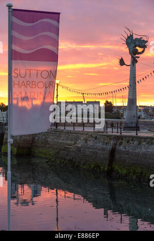 Sunrise at Sutton Harbour Marina, The Barbican, Plymouth. Near the Mayflower Steps - Stock Photo