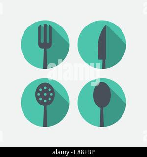 Cutlery icons - Stock Photo