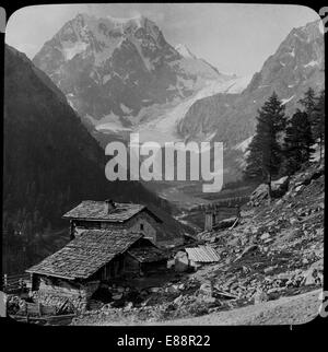 View of Mont Collon, near Arolla, Bernese Alps, Switzerland. 1911. Probably taken from the Alp of Pras-Gras. - Stock Photo
