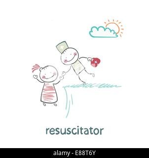 resuscitator holding the hand of a patient from the abyss - Stock Photo