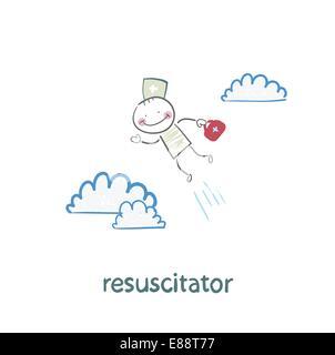 resuscitator flies to the patient - Stock Photo
