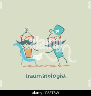 traumatologist wrap up the patient - Stock Photo