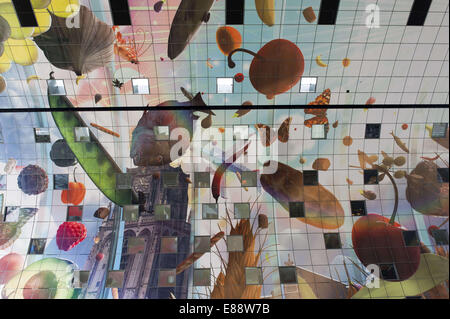 Sept. 30, 2014 - Rotterdam, South Holland, The Netherlands, Holland - The beautiful ceiling of The Markthal in the - Stock Photo