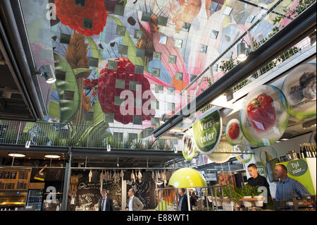 Sept. 30, 2014 - Rotterdam, South Holland, The Netherlands, Holland - Market stalls in the Markthal in the city - Stock Photo