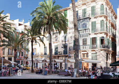 Restaurants and street cafes at der Placa de la Llotja, Palma de Mallorca, Majorca, Balearic Islands, Spain, Europe - Stock Photo