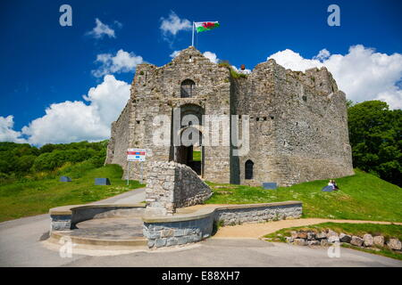 Oystermouth Castle, Mumbles, Gower, Wales, United Kingdom, Europe - Stock Photo