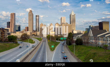 Elevated view over Freedom Parkway and the Downtown Atlanta skyline, Atlanta, Georgia, United States of America, - Stock Photo
