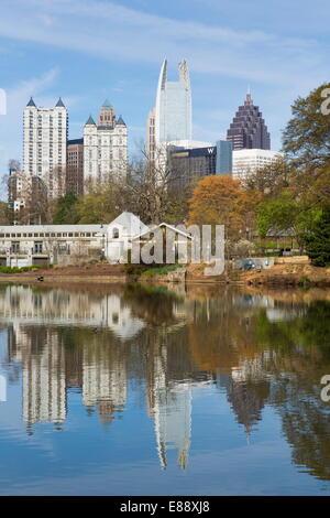 Midtown skyline from Piedmont Park, Atlanta, Georgia, United States of America, North America - Stock Photo