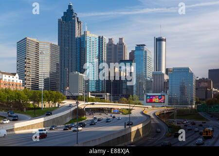 Interstate I-85 leading into Downtown Atlanta, Georgia, United States of America, North America - Stock Photo
