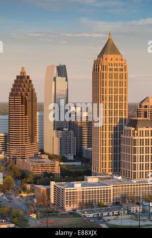 Elevated view over Interstate 85 passing the Atlanta skyline, Atlanta, Georgia, United States of America, North - Stock Photo