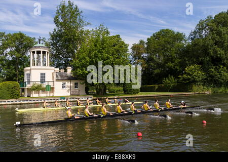 Two Rowing Eights pass Temple Island, Henley Royal Regatta, Oxfordshire, England, United Kingdom, Europe - Stock Photo