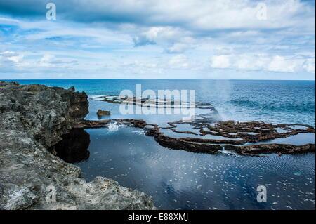 Mapu'a 'a Vaea Blowholes, Tongatapu, Tonga, South Pacific, Pacific - Stock Photo