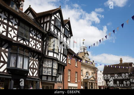 Tudor buildings and the Buttercross, High Street, Ludlow, Shropshire, England, United Kingdom, Europe - Stock Photo