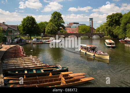 Boats on the River Avon and the Royal Shakespeare Theatre, Stratford-upon-Avon, Warwickshire, England, United Kingdom, - Stock Photo