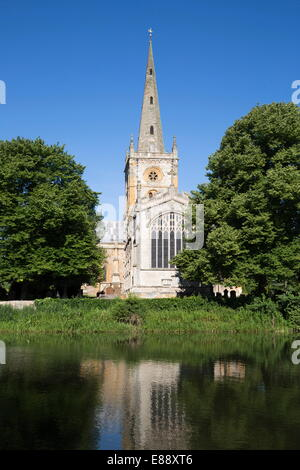Holy Trinity Church, Shakespeare's burial place, on the River Avon, Stratford-upon-Avon, Warwickshire, England, - Stock Photo
