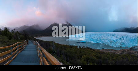 Perito Moreno Glacier at dawn, Los Glaciares National Park, UNESCO World Heritage Site, Patagonia, Argentina, South - Stock Photo