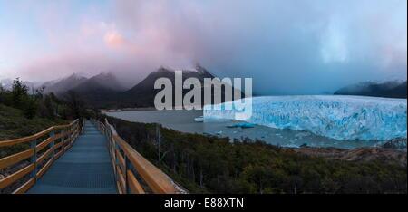 Perito Moreno Glacier at dawn, Los Glaciares National Park, UNESCO World Heritage Site, Patagonia, Argentina, South - Stock Photo