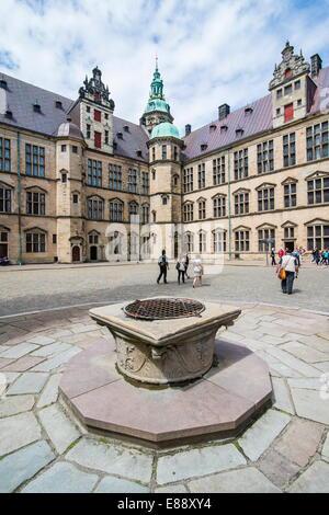 Inner yard in Kronborg Renaissance castle, UNESCO World Heritage Site, Helsingor, Denmark, Scandinavia, Europe - Stock Photo