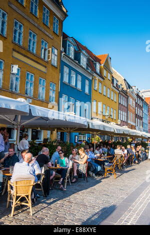 Restaurants in Nyhavn, 17th century waterfront, Copernhagen, Denmark, Scandinavia, Europe - Stock Photo