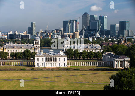 View of Canary Wharf with the Maritime Museum from the Royal Observatory Greenwich - Stock Photo