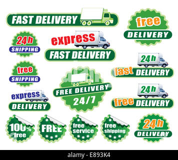 Set of green delivery signs with trucks and labels - Stock Photo