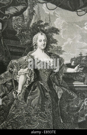 Maria Theresa of Austria, 1717 - 1780, sovereign of Austria and Queen of Hungary and Bohemia. Engraving by Troebmann. - Stock Photo
