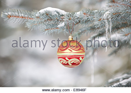 Christmas ornament hanging on tree with icicles - Stock Photo