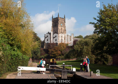The Staffordshire and Worcestershire Canal and St. Mary`s Church, Kidderminster, Worcestershire, UK - Stock Photo