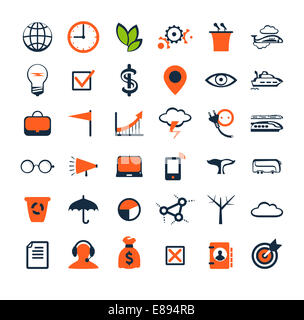 Business people icons. Management, human resources, marketing, e-commerce solutions. Flat design - Stock Photo
