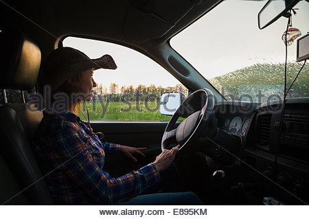 Rancher With Cowboy Hat Driving Truck Stock Photo Royalty
