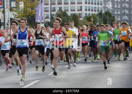 Berlin, Germany, young people run the Mini Marathon - Stock Photo