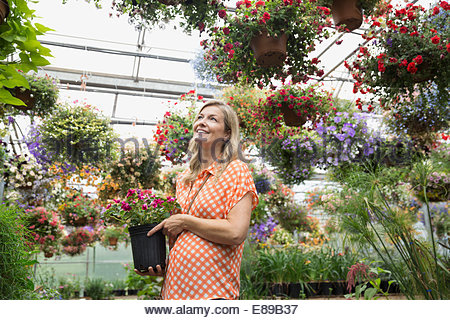 Woman shopping for flowers at plant nursery greenhouse - Stock Photo