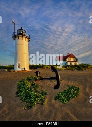 Race Point Lighthouse in Provincetown, Cape Cod. - Stock Photo