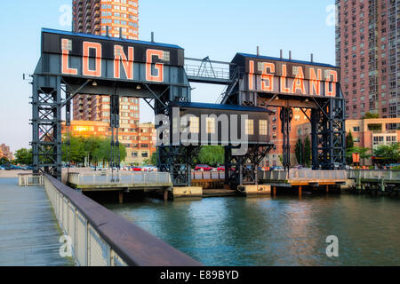 Gantry Plaza State Park gigantic gantries transfer bridges in Long Island City located in the borough of Queens, - Stock Photo