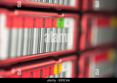 LTO5 Backup Tape Library with barcode numbering - Stock Photo
