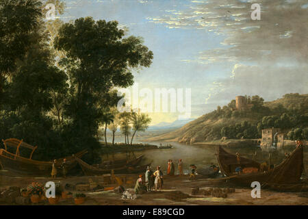 Claude Lorrain (French, 1604/1605 - 1682 ), Landscape with Merchants, c. 1629, oil on canvas - Stock Photo