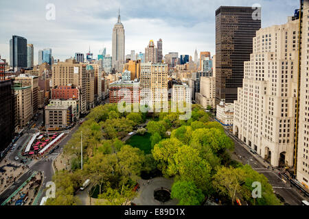 Flatiron District along with Fifth Avenue, Broadway, Madison Square Park as well as the the Empire State Building. - Stock Photo