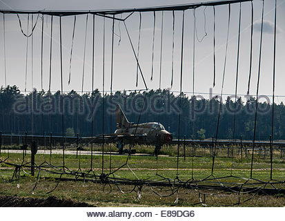 Germany East DDR, Finow, Museum Russian Cold War Base Mig 21 Aircraft Arrester Barrier remains - Stock Photo