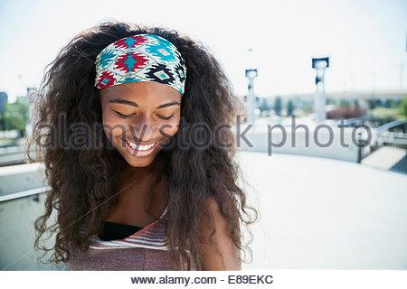 Teenage girl looking down - Stock Photo
