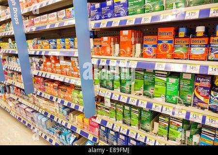 Florida, FL, South, Miami Beach, Walgreens, pharmacy, drugstore, sale, shelf shelves shelving, competing brands, - Stock Photo
