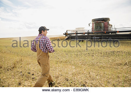 Farmer walking toward combine harvester in crop field - Stock Photo