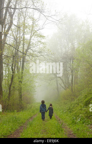 Brother and sister walking down foggy path - Stock Photo