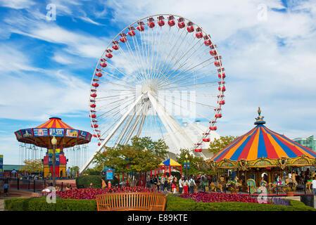 Navy Pier, Chicago Ferris Wheel  and Carousels,  Illinois - Stock Photo