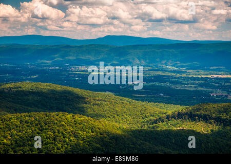 View of the Shenandoah Valley and Appalachian Mountains from the Mill Mountain Trail on Great North Mountain in - Stock Photo