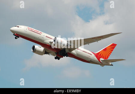 Air India Boeing 787-8 Dreamliner (VT-ANG) departs London Heathrow Airport, England, on 2nd July 2014 - Stock Photo