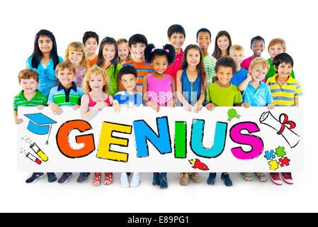 Multiethnic Group of Children with Genius Concept - Stock Photo