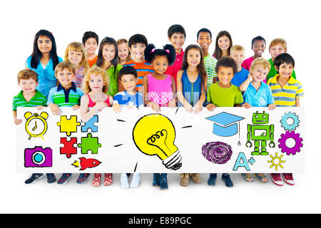 Group of Children Holding Education Concept Billboard - Stock Photo