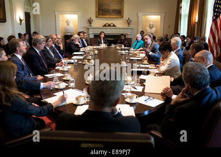 President Barack Obama holds a Cabinet meeting in the Cabinet Room of the White House, July 1, 2014. - Stock Photo